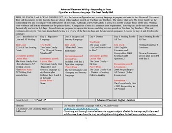 The Great Gatsby Unit - Figurative and Sensory Language lesson plan