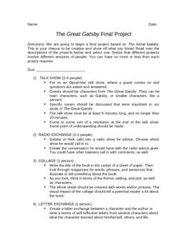 The Great Gatsby Final Project