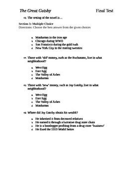The Great Gatsby Final Test Chapters 1-9