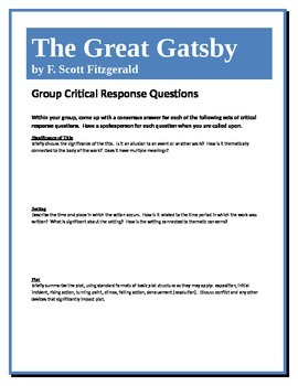 The Great Gatsby - Fitzgerald - Group Critical Response Questions