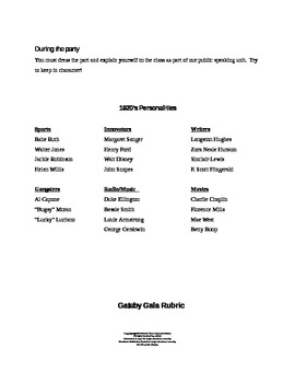 Great Gatsby Gala:  Research and Public Speaking Engagement