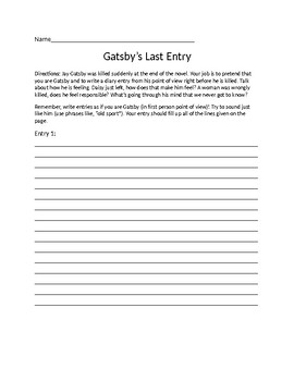 The Great Gatsby- Gatsby's Last Diary Entry