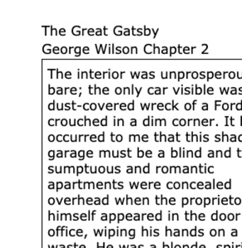The Great Gatsby George Wilson Chapter 2 Analysis