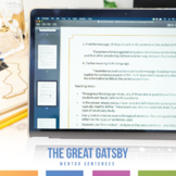 Mentor Sentences Grammar and Language Study: The Great Gatsby