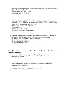 The Great Gatsby Grammar Work