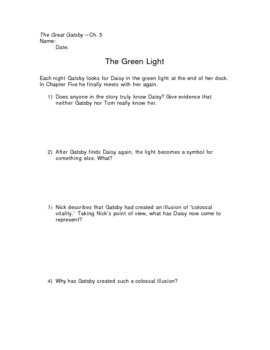 The Great Gatsby Green Light Worksheet