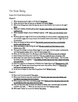 the great gatsby guided reading questions answers ch 8 9 only rh teacherspayteachers com great gatsby study guide question answers great gatsby chapter 1 study guide questions answers