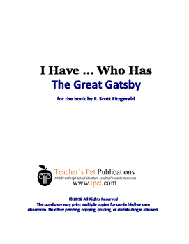 The Great Gatsby I Have Who Has Novel Review Game