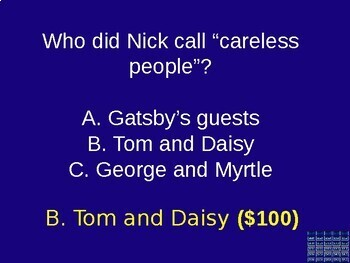 The Great Gatsby Jeopardy Game