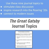 The Great Gatsby Journal Entries