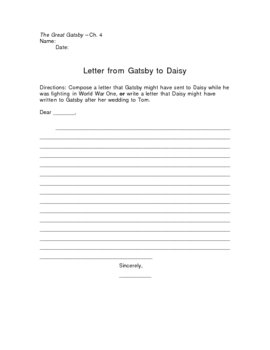The Great Gatsby Letter to Daisy Writing Assignment