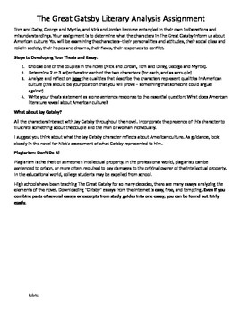 The Great Gatsby Literary Analysis Assignment Essay