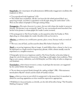 The Great Gatsby Literary Terms - SubText Page #s