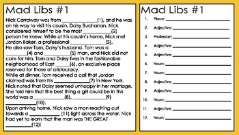The Great Gatsby Mad Libs: A FUN Twist on a Literary Classic!