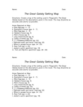 The Great Gatsby Map Activity