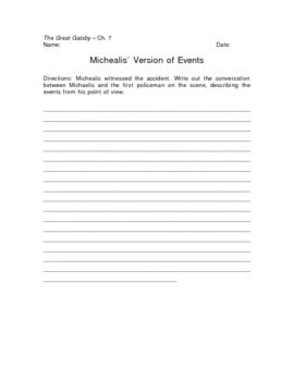 The Great Gatsby Michaelis' Version of Events Writing Assignment