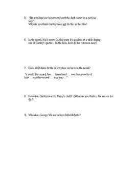 The Great Gatsby Movie Questions