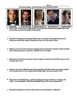 The Great Gatsby Movie Study Guide