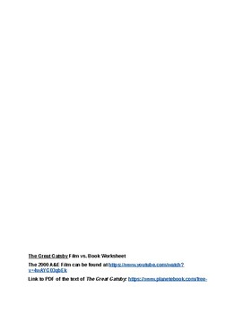 the great gatsby movie vs book worksheet a e film by literature lifesavers. Black Bedroom Furniture Sets. Home Design Ideas