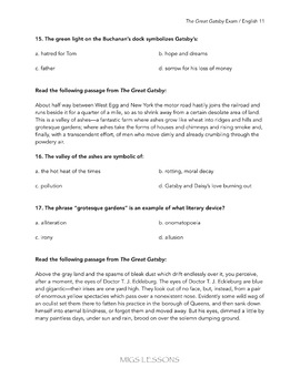 The Great Gatsby Mulitiple-Choice and Writing Assessment