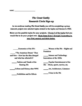 The Great Gatsby Multigenre Research Project