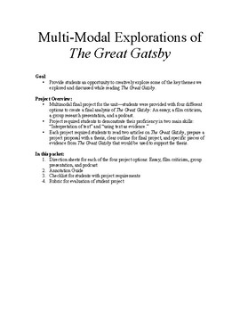 The Great Gatsby - Multimodal project