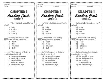 The Great Gatsby - Multiple Choice Reading Check Quizzes BUNDLE
