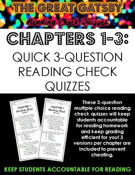 The Great Gatsby Multiple Choice Reading Check Quizzes: Chapters 1-3