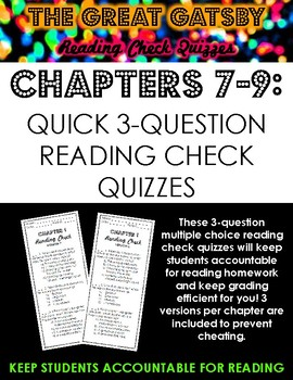 The Great Gatsby Multiple Choice Reading Check Quizzes Chapters 7-9