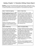 The Great Gatsby Narrative Writing Choice Board (Chapters 1-2)