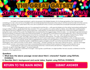 The Great Gatsby Novel Intro. Close Reading Stations -- Perfect for Pre-Reading
