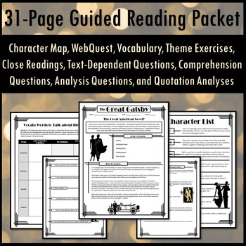 The Great Gatsby Full Unit Guided Reading Packet