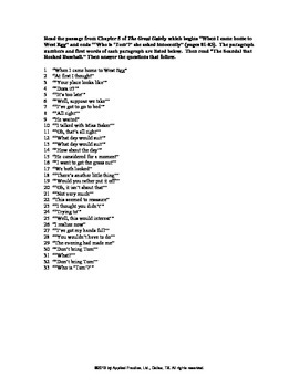The Great Gatsby Paired Passage English skills worksheet by Applied Practice