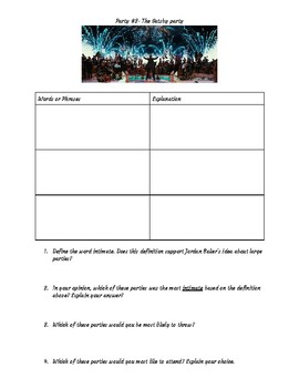 The Great Gatsby Party Comparison Worksheet