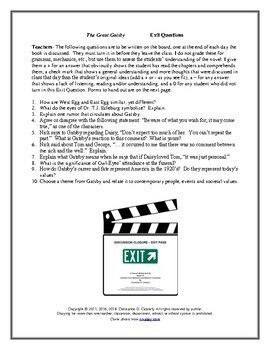 Literature - The Great Gatsby: Exit Questions & Points to Ponder