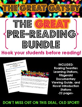 The Great Gatsby Pre-Reading BUNDLE - Engage students before reading