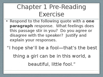 The Great Gatsby Pre-Reading Writing Exercises
