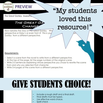 The Great Gatsby Project Choice of 9 plus EDITABLE rubric