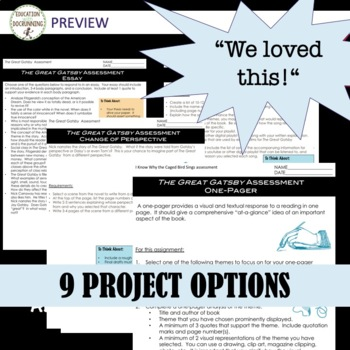 The Great Gatsby Project Choice of 9 plus EDITABLE rubric Distance Learning