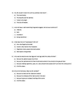 The Great Gatsby QUIZ PACKET (10 Quizzes) WITH KEYS