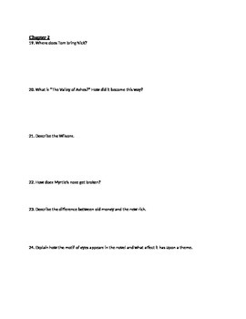 The Great Gatsby Quiz Chapter 1-2