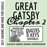 The Great Gatsby Quiz & Key - Chapter 2 (Word Doc, Google Doc & PDF)