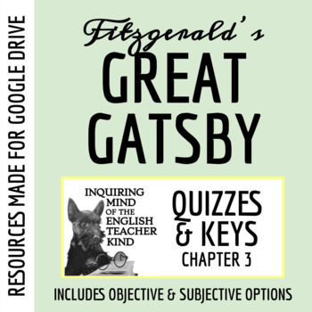 The Great Gatsby Quiz - Chapter 3 (Common Core Aligned)