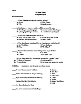 The Great Gatsby Quiz Chapter 4