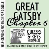 The Great Gatsby Quiz & Key - Chapter 6 (Word Doc, Google Doc & PDF)
