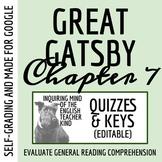 The Great Gatsby Quiz & Key - Chapter 7 (Word Doc, Google Doc & PDF)