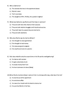 The Great Gatsby Quiz Chapter Two WITH KEY (honors)