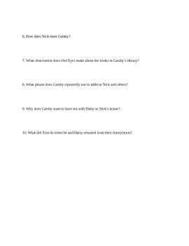 The Great Gatsby Quiz Chapters 1-4