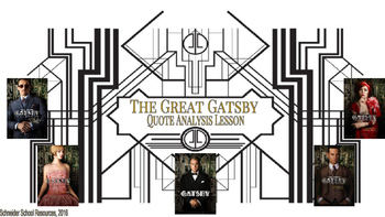 The Great Gatsby Quote Analysis Lesson