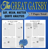 The Great Gatsby Quote Analysis Pack